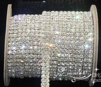 düğün kristal düzeltme toptan satış-Düğün Takı 2-Row ss16 temizle kristal rhinestone trimler yakın zincir gümüş 10 yard