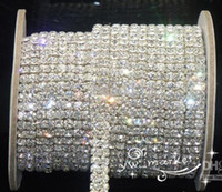 rhinestone-trimmkristall großhandel-Hochzeitsschmuck 2-reihig ss16 klarer Kristallrhinestone-Verzierungen schließen Kette Silber 10 Yard ab