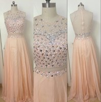 Wholesale photo image art for sale - 2017 Real Image Prom Dresses Jewel Neck Blush Pink Chiffon Crystal Beaded Illusion Waist Open Back Evening Dress Party Pageant Formal Gowns