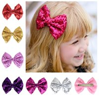 Wholesale Embroideried Sequin Bows - 38 colors available ! 3.5'' Messy Sequin Hairbow Clip hairband,Embroideried Sequin Bows With Clip for Kids Hair Accessories 50pcs