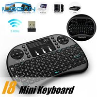 Wholesale Mini Keyboard Bluetooth Touch - Free Shipping Rii I8 Smart Fly Air Mouse Remote Backlight 2.4GHz Wireless Bluetooth Keyboard Remote Control Touchpad For Android Box MX3 M8S