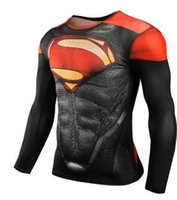 Wholesale Superman T - 2017 New Fitness Compression Shirt Men Superman Bodybuilding Long Sleeve 3D T Shirt Crossfit Tops Shirts