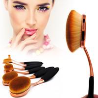 Wholesale Gold Toothbrush - 6pcs set Oval Makeup Brushes Set Rose Gold Toothbrush Shape Make up Brush Multipurpose Beauty Cosmetic Brush Pincel Kit Tools Free Shipping