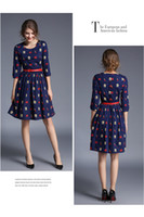 Wholesale Waist Belts For Dresses - New Arrival half sleeve print dress for women slim high waist lady dresses 2017 famous casual dress with belt Z1082