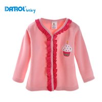 Wholesale 1 piece DANROL T T Baby Girls Polar fleece Cardigan High quality lace keep warm pink clothing DR0130