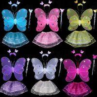 niños tutu de hadas al por mayor-Kids Fairy Princess Costume Sets Colorido Escenario Desgaste 2 Capas Alas de Mariposa Wand Diadema Tutu Faldas 4 unids / set OOA3577
