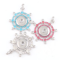 2017 Interchangable Fit 18mm Snap Buttons Vintage Snaps Button Steering wheel Rhinestone Pendant DIY Necklace Jewelry Charm