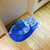 Wholesale 3d Floor Mats - Entrance Doormat Sleeping Cat Cartoon 3D Printed Anti Slip Floor Carpet Door Welcome Mat Soft High Quality Fabric 32as F R