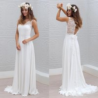 Wholesale Black French Country - Bohemian French Lace Chiffon Beach Bridal Gowns Elegant Summer Country Garden Boho Wedding Dress 2018 Plus Size Cheap Wedding Gowns