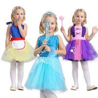 Wholesale Princess Style Apron - Baby girls snow White Belle Rapunzel princess apron TuTu dress Elsa Anna Dance clothes pinafore Kids Halloween costume 3 styles