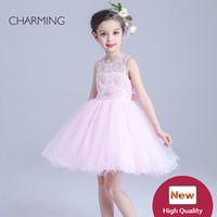organza blumen china großhandel-rosa Blumenmädchenkleider China kaufen online Kinderkleider zum Verkauf beste China Großhandel hochwertige Blumenmädchen Kleider für Mädchen für die Partei