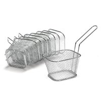 Wholesale Serving Tools - 8Pcs lot Chips Mini Fry Baskets Stainless Steel Fryer Basket Strainer Serving Food Presentation Cooking Tool French Fries Basket
