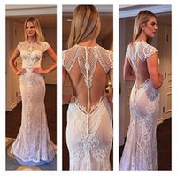Wholesale Red Short Reception Dress - 2016 Berta Bridal Gowns Formal Lace Beading Wedding Dresses Sheath Crew Neck Sexy Backless Floor Length Elegant Reception Wedding Gowns