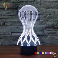 Wholesale Novelty Jellyfish - Wholesale- Novelty Ocean Jellyfish 3D Lamp Lighting LED Night Light Bedroom Decoration Atmosphere Mood Lamp Table Animal Light Up Toys