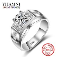 Wholesale Solid Silver 925 Man Rings - YHAMNI Fashion Man Wedding Ring Solid 925 Sterling Silver 6mm Diamond Luxury Charm Engagement Rings For Men Jewelry Gift MJZ008