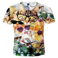 Wholesale T Shirt Glasses - 3D T shirts Quick Dry T-shirt Men Women 3d Tshirt Print Lovely Glasses Cat T shirt Summer Tops Tees Fashion Camiseta