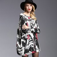 2017 европейский и американский стиль St Women Fashion Sweater Plus размер Loose Wool Blended Printed Bat Sleeves Pullover Oversized Casual Dress