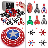 Wholesale Newest Science - Newest Aluminum Alloy Metal Captain America Iron Man Fingertips Gyro Fidget Spinner Toy For Autism ADHD Adults DHL
