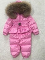 Wholesale Warm Baby Snowsuit - 2017 duck down baby coverall winter fat boys costume girls warm baby infant Snowsuit overalls children outerwear clothes