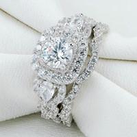 ajuste gitano anillos de compromiso al por mayor-Newshe 2 Unids Genuino 925 Conjuntos de anillos de boda de Halo de Plata Anillo de Compromiso Regalo Joyería Para Mujeres Tamaño 5-10 Barco de EE. UU.