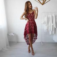 Wholesale Braces Wedding Dress - Lace Ball Gown Wedding Dresses Beach Casual Dresses Short Front And Back v Neck Braces Skirt