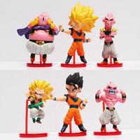 Wholesale free japanese toys for sale - 6pcs set Japanese Anime Dragon Ball Z Majin Buu Gotenks Saiyan Son Goku PVC Action Figures Collectible Toys