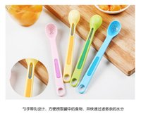 Wholesale Spoons Plastic Handles - 2pcs set Creative Kitchen Long Handle Leaf Spoon Two - in - one Candy Color Spoon Fork Combination Set portable tool WYQ