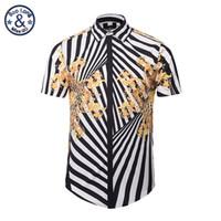Wholesale Gone Dresses - Wholesale- Mr.BaoLong&Miss.GO Spring New Mr GUGU & Mis GO versa Shirts 3D Zebra Stripes Flowers print Men novel Short sleeve Dress Shirts