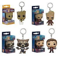 Wholesale Galaxy Keychain - 2017 New Funko Pop War Guardians of the Galaxy Dancing Groot Bobble Head Keychain Super Natural Join the Hunt Dean Castiel Pocket Pop Toy