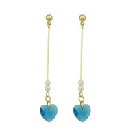 Wholesale Pink Gold Rhinestone Heart Pendant - Cute Lovely Gold-Color Long Chain With Blue Pink Color Heart Shape Pendant Drop Earrings For Women Accessories