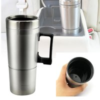 Wholesale 12v Coffee - 12V 300ml Car Based Heating Cup Stainless Steel Kettle Travel Trip Coffee Tea Heated Mug Motor Hot Water