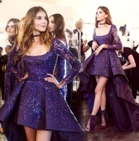 Wholesale Zuhair Murad Dress High Low - Stunning Zuhair Murad Evening Dresses 2017 High Low Sheer Long Sleeve Sequins Short Prom Cocktail Dress Arabic Occasion Party Gowns BA6636