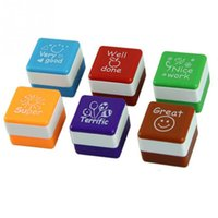 Wholesale Vintage Style Stamp - Wholesale- Vintage Style Marking Stamp 6pcs 2.8*2.8CM Square Shaped Stamps Specified ABS Teachers Comments Cute Cartoon Stamp Set