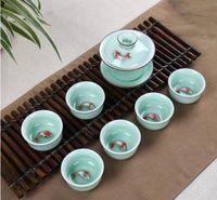 Wholesale Tea Set Suit - Chinese wind, celadon, green, cup bottom, small fish, tea cup, tea set, suit, suitable for friends, gift box set