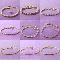Wholesale Steel Ball Stretching - 18k Gold Plated Womans Balls Bead Bangle Stainless Steel Love Heart Cross Charms Stretch Bracelet Best Friendship Gift Wedding Party