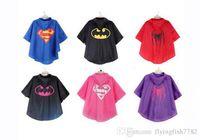 Wholesale Raincoat Spiderman - Kids Superhero Raincoat cloak Superman Batman Rain Coat Baby Spiderman The Avenger Raincoat Waterproof RainCoat Super Hero Poncho 25 Inch