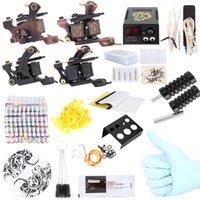 Wholesale Damascus Machine - Complete Tattoo Kit 40 Color Inks Power Supply 2 Machine Guns Shader Liner Cheap Tattoo Machine Set UK Plug