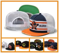 Sombreros Anaranjados Al Por Mayor Baratos-2018 venta al por mayor NCAA Syracuse Orange Snapbacks sombreros negro blanco amarillo Cap American College Mens ajustable sombreros logotipos bordados con caja