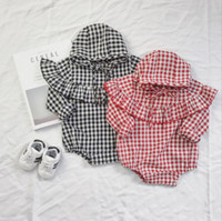 Wholesale New Cute Babys - 2017 New Babys Girls Boys Plaid Rompers Autumn Long Sleeve With Hat Cute Soft Babyjump Z57