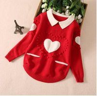 Wholesale Wholesale Heart Jumpers - Christmas Children sweater girls Heart embroidery pullovers Autumn kids long sleeve lapel knitting sweater girls fashion clothes C1310