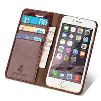 Wholesale Iphone 5s Flip Covers - New Genuine Leather Case For Apple 6 Plus iPhone 7 Plus Luxury Phone Cases iphone 6s Cover iphone 5 5s SE 4 With Card Slot Flip HolsterNew L