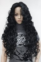 Wholesale Thick Black Wig - New super hot fashion sexy charming jet black long curly woman's full thick wig free shipping