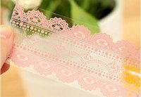 Wholesale Transparent Decorative Adhesive Tape - Wholesale- 2016 Freeshipping! New Pink Lace Transparent tape ( Large )sticker Decorative Tape DIY stationery  Office Adhesive Tape  Wholes