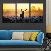 Wholesale Nursery Room Painted Wall Art - 3 piece canvas art African sunset deer painting group children's room decor poster painting canvas art high quality video