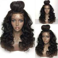 ingrosso capelli molto mongoli-Onda del corpo reale, capelli mongoli vergini al 100% per donne nere, parrucche frontali in pizzo glueless a onda molto lunga, tre clip, parte centrale, stock