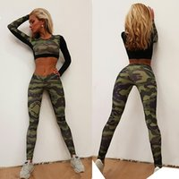 Wholesale Female Sports Wear - Camouflage Green Women Yoga Sets Long Sleeves Splicing Female Fitness Wear Outdoor Push Up Athletic Sports Outfits