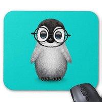 очки пингвинов оптовых-Пользовательские Милый Ребенок Пингвин Носить Очки На Синий Коврик Для Мыши