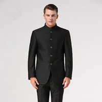 Wholesale Traditional Chinese Images - Chinese tunic suit set (Jacket+Pant) stand collar male Formal suit Chinese style tang suit Traditional Mandarin groom wear
