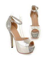 vestidos de tacón alto al por mayor-Glitter lentejuelas plataforma alta Glitter peep toe bombas vestido de boda zapatos vestido de mujer sexy tacones altos tamaño 34 a 39
