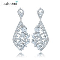 Wholesale Korea High Quality Earrings - LUOTEEMI Korea Style New Clear Crystal Ms Big Pendant Earrings High Quality White Gold-Color Brincos Jewelry for Women Wedding
